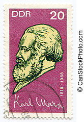 A stamp printed in Germany of Karl Marx - GERMANY, CIRCA...