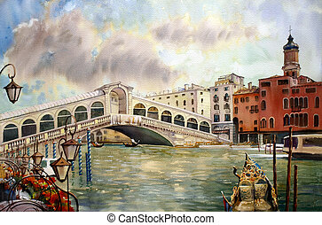 A view of the canal with Rialto bridge, boats and buildings...