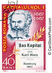 Postage stamp printed in Romania of Karl Marx - Romania,...