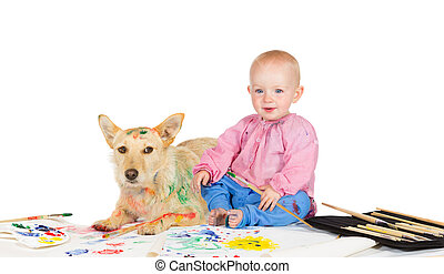 Baby and dog painting - Adorable happy little baby sitting...
