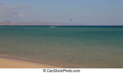kite surfing in the beach