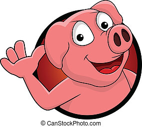 happy pig cartoon isolated - vector illustration of happy...