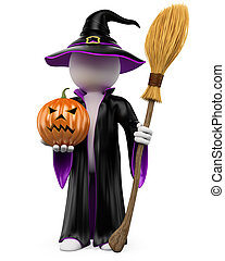 3D halloween white people. Witch dressed in a black and...