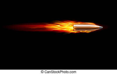Gun Bullet Shot - Moving Red Fiery Gun Bullet Shot...