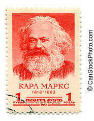 Stamp printed in Soviet Union of Karl Marx - SOVIET UNION,...