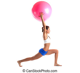woman stand with fitness ball isolated - young woman stand...