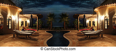 Facade with lights and pool - south sea facade with nice...