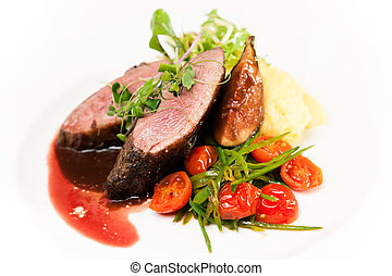Duck fillet - Glazed duck fillet, mashed potatoes seasoned...
