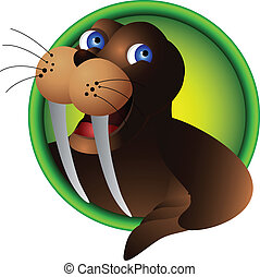 cute walrus head cartoon - vector illustration of cute...