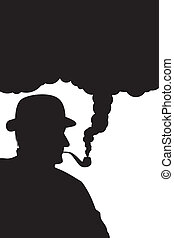 Man with pipe - man smokes a pipe, silhouette on a white...