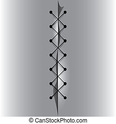 Cross linked thread seam - Cross linked thread seam, vector...