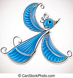 Blue bird vector illustration.