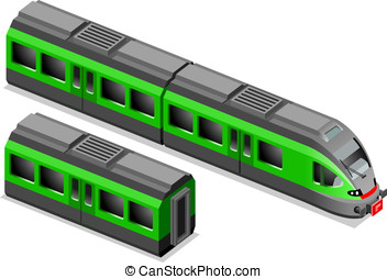 Isometric green train in two position