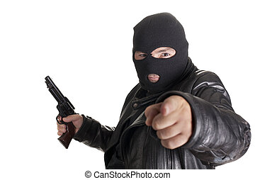 balaclava man - a mugger with a gun threatening one hand