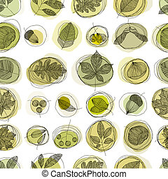 Leaves and seeds seamless pattern - Vintage style seamless...