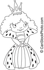 queen outlined - illustration of a queen outlined