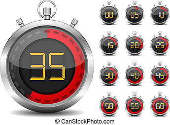 Digital Timer - Digital timer, vector eps10 illustration