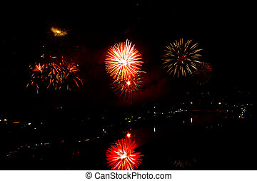 fireworks as seen from Samui,Thailand ,New year 2012