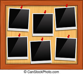 Photo frames on bulletin board, vector eps10 illustration
