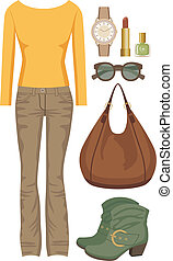 Fashion set with jeans and a sweate