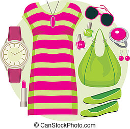 Fashion set with a tunic - Vector illustration It is created...