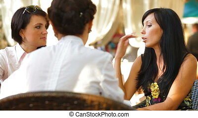 Female Friends Having Lunch - Female friends chat over a hot...