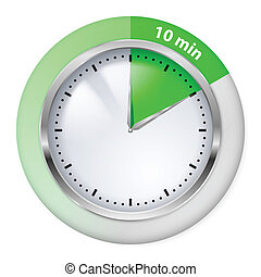 Timer icon - Green Timer icon. Ten minutes. Illustration on...