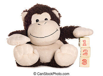 Monkey soft toy learning to count studio cutout