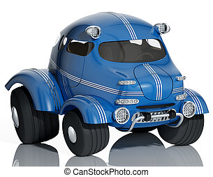 Blue car isolated - Blue car isolated on white background,...