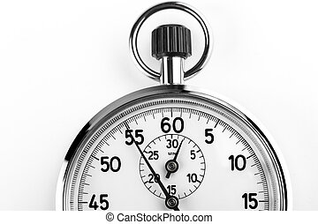 Timer - silver stopwatch timer crop isolated on white...