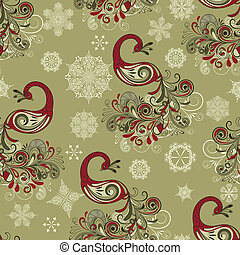 Vector Seamless Winter Pattern with Peacocks and Snowflakes...
