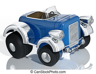 Blue car hot rod. - Blue car hot rod isolated on white...