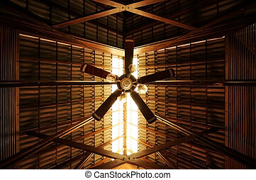 Old Style Ceiling Fan with Sunlight