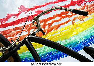 Colorful Plastic Flag and Bicycle - Colorful Plastic Flag...
