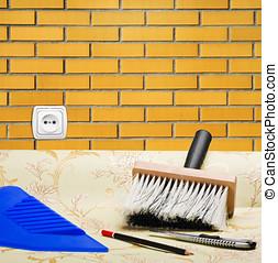 taping a brick wall paper wallpaper and tools for repair