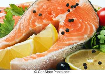 salmon steak with lemon and spices