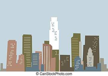 Cartoon Los Angeles Skyline