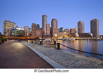 Boston Skyline. - Image of Boston city skyline at twilight.