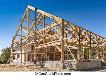 New House Construction Framing with room for copy