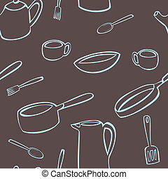 Kitchen Utensil Pattern - A seamless pattern of various...