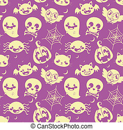 Halloween Purple Pattern - Seamless pattern of glowing...