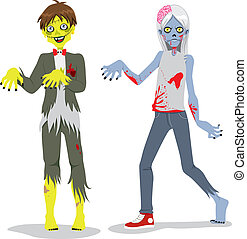 Zombie Teen Boys - Cartoon illustration of funny fashion...