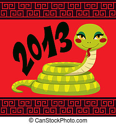 Chinese Snake Year - Cute Snake cartoon illustration...