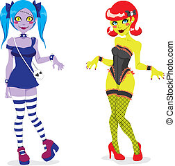 Sexy Zombie Girls - Cartoon illustration of funny fashion...