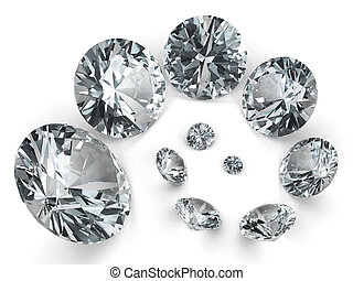 Spiral of different diamonds on white background. High...