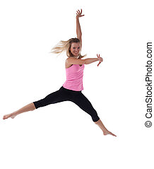 Blond woman doing jump in fitness cloth