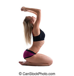 young blond woman sit in youga pose isolated