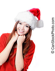 Happy Girl Smile with Christmas hat