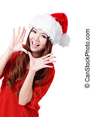 Happy Christmas woman excited say hello isolated on white...