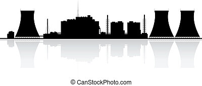 Nuclear Power Plant Silhouette - Silhouette of a nuclear...